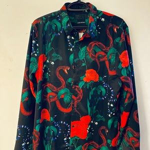 Other - Men's satin button down shirt in snake and floral